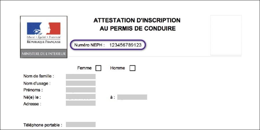 Inscription permis NEPH